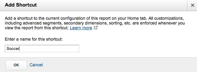 Add Shortcut Name - Google Analytics