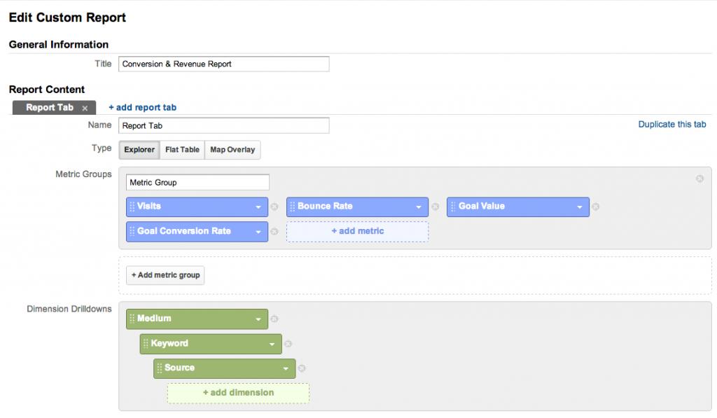 Custom Report Options - Google Analytics