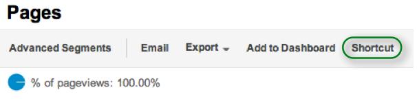 Shortcut Button in Google Analytics