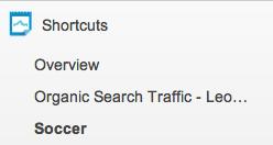 Shortcuts on Sidebar - Google Analytics