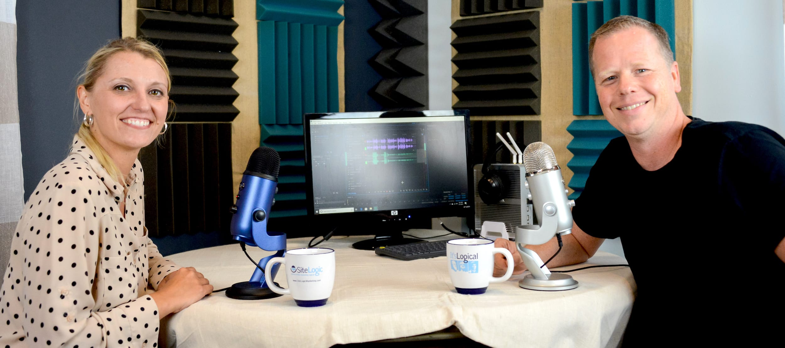 Matt and AShley recording the Endless Coffee Cup Podcast
